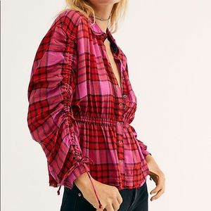 We The Free Women's Red Pacific Dawn Plaid Shirt